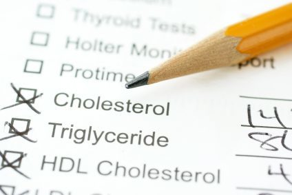 lab report for cholesterol with pencil