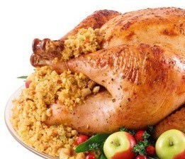 The sacred bird - Roasted Turkey and Dressing form the foundation of the Norman Rockwell Thanksgiving Feast.