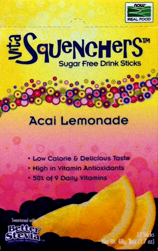 Vita-Squenchers Acai Lemonade Stevia Sweetened Sugar Free Drink Mix Sticks by Now Foods