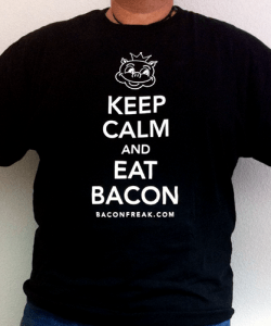Keep Calm and Eat Bacon T-Shirt from BaconFreak.com