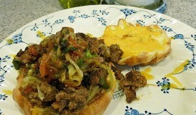 Tex-Mex Sloppy Joe on low carb Revolutionary Roll