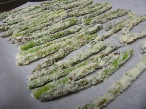 Oven Fried Parmesan Crusted Asparagus