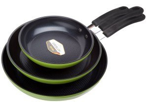 Ozeri ZP1-3P 3 Piece Green Earth Frying Pan Set