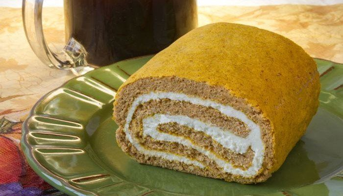 Parke County Pumpkin-Cream Cheese Roll Recipe from CarbSmart Low-Carb & Gluten-Free Holiday & Entertaining Cookbook